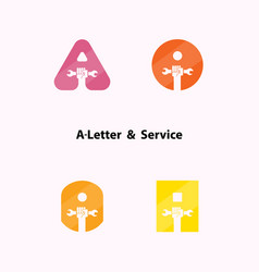 A-letters and human hand icon with wrench logo vector