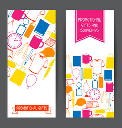 advertising banners with promotional gifts and vector image