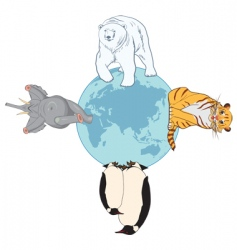 animals and globe vector image vector image