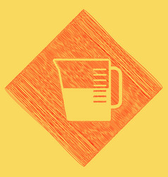 Beaker sign red scribble icon obtained as vector