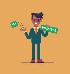 black man breaks off piece of word impossible vector image vector image