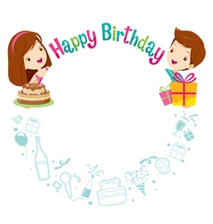 Boy Girl And Icons With Birthday Circle Frame vector image