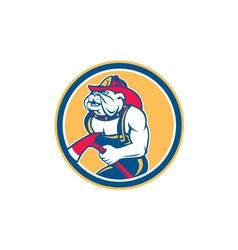 Bulldog fireman with axe circle retro vector