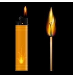 Burning lighter and match on black background vector image