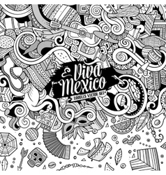 Cartoon hand-drawn doodles Latin American frame vector image