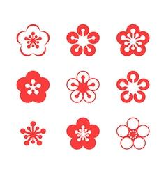 Cherry blossom sakura icon set vector