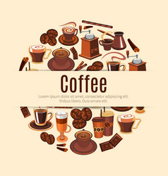 coffee drink round poster for cafe design vector image vector image