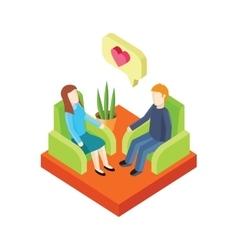 Couple love in armchair 3d isometry vector