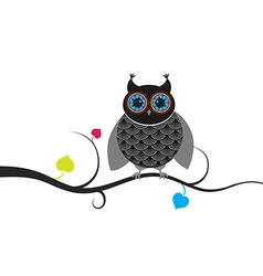 Creative owl sitting on branch vector image vector image