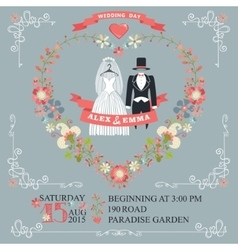 Cute wedding invitationretro wear floral wreath vector