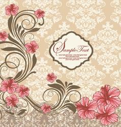 Elegant vintage damask floral invitation card vector