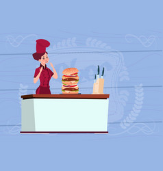 Female chef cook big burger cartoon chief in vector