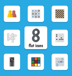 Flat icon entertainment set of cube gomoku vector