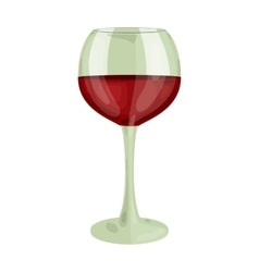 Glass of red wine icon in cartoon style isolated vector image