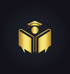 gold book education college logo vector image