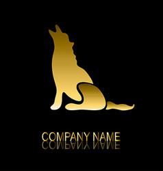 golden wolf symbol vector image vector image