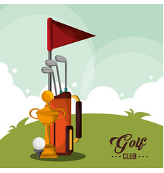 Golf club bag trophy and ball vector
