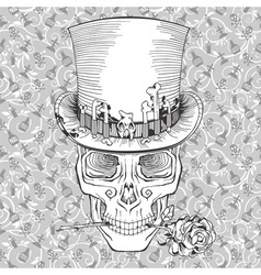 Human skull in a top hat baron samedi vector