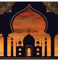 Islam backgroundmosquearchsunset skyorange vector