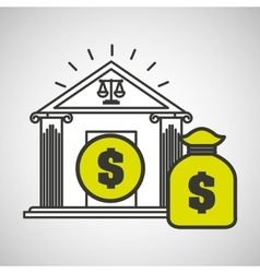 justice bulding bag money icon graphic vector image