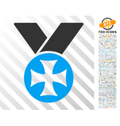 Maltese medal flat icon with bonus vector