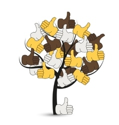 Modern thumbs up tree on white vector