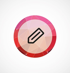 Pencil circle pink triangle background icon vector