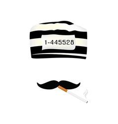Prisoner cap mustache and cigarette vector image vector image