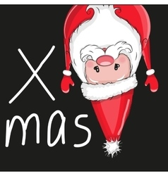 Santa flipped over vector