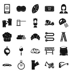 Service building icons set simple style vector