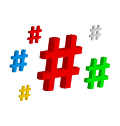 set color hashtag viral web network media tag vector image vector image