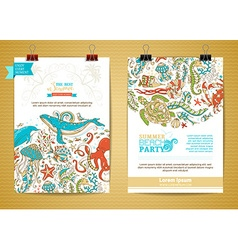 Set of two marine life poster templates vector