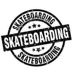 Skateboarding round grunge black stamp vector