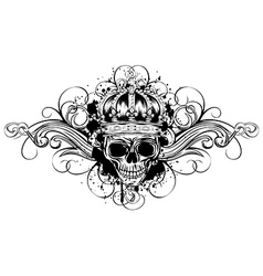 Skull in crown with patterns vector