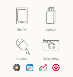 Tablet pc usb flash and photo camera icons vector