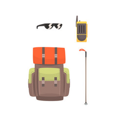 Tourist hiking backpack sunglasses radio and ski vector
