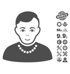 Trendy Guy Icon With Tools Bonus vector image vector image