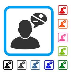 User arguments framed icon vector