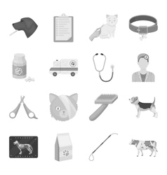 Veterinary clinic set icons in monochrome style vector