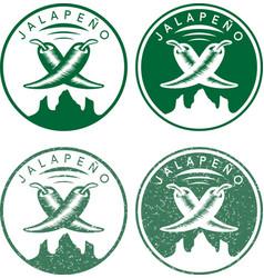 vintage labels set of hot jalapeno pepper vector image