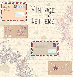 Vintage letters and paper texture set vector image