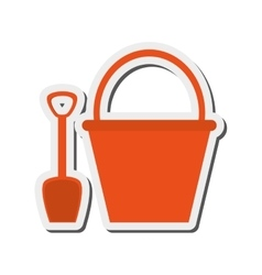 Bucket and shovel icon vector