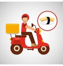Delivery boy ride motorcycle nigiri sushi vector