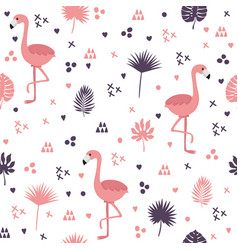 Seamless pattern with flamingos and leaves cute vector