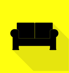 Sofa sign  black icon with flat style vector