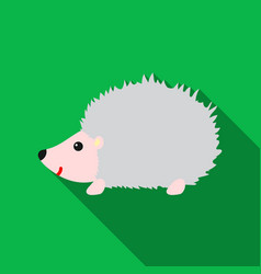 Hedgehog icon flat singe animal icon from the big vector