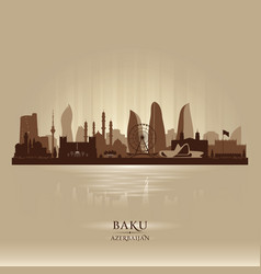 Baku azerbaijan city skyline silhouette vector