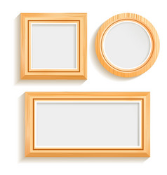 Isolated wooden frames set vector