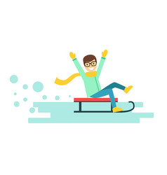 Happy smiling boy riding a sledge winter activity vector
