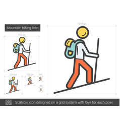 mountain hiking line icon vector image